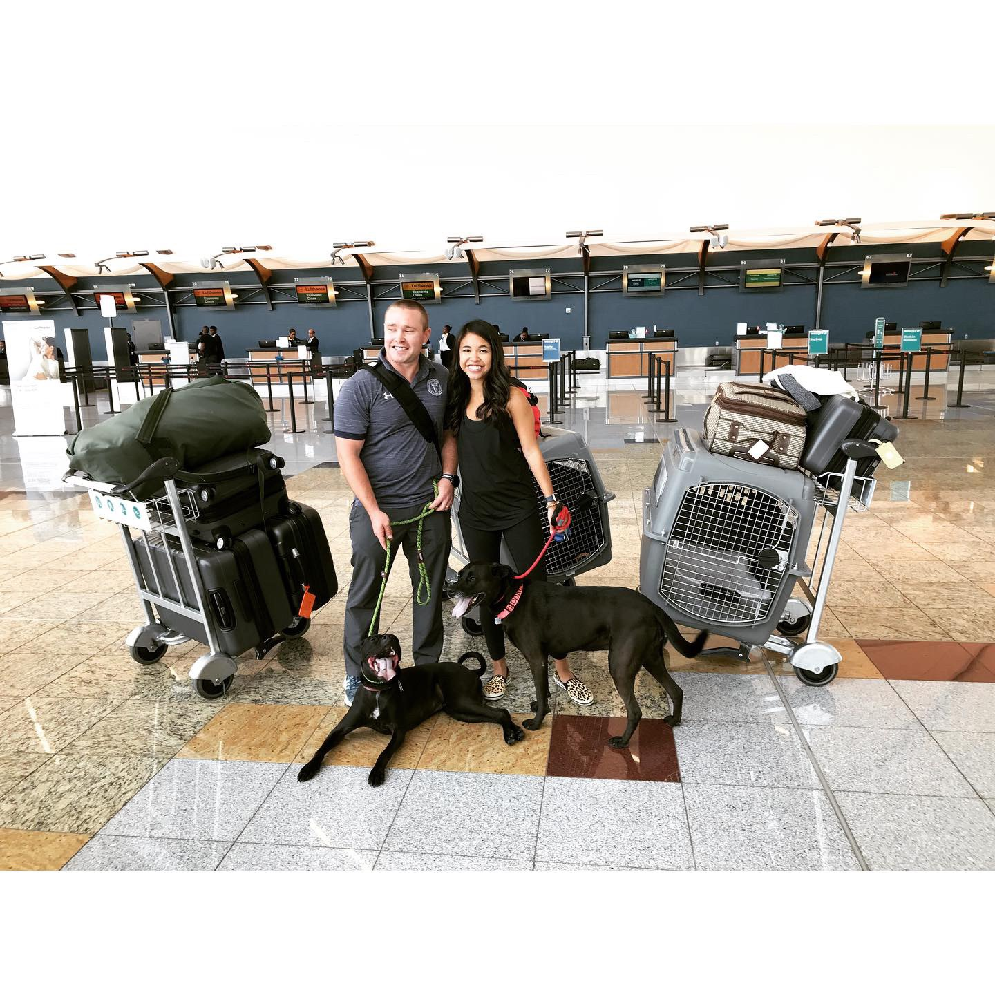 Us with our bags and our dogs at the Atlanta airport