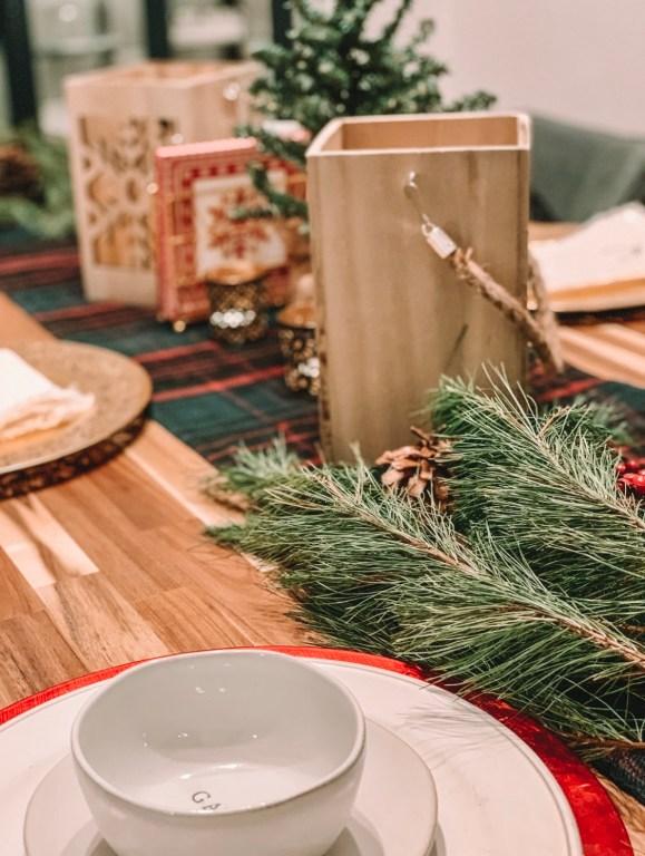 Christmas table greenery