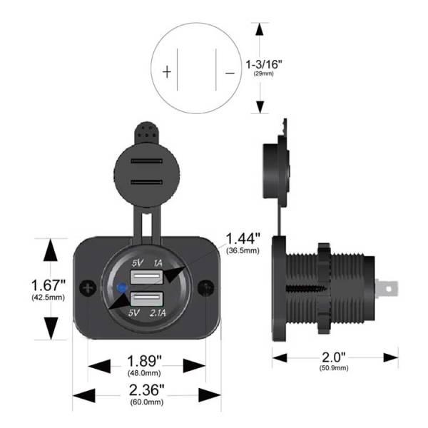 USB Power Socket 20287 Dimensions Trigger Controller