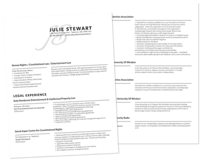 Julie's Custom Resume Design