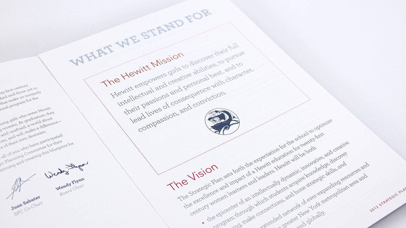 The Hewitt School Admissions Viewbook and Strategic Plan
