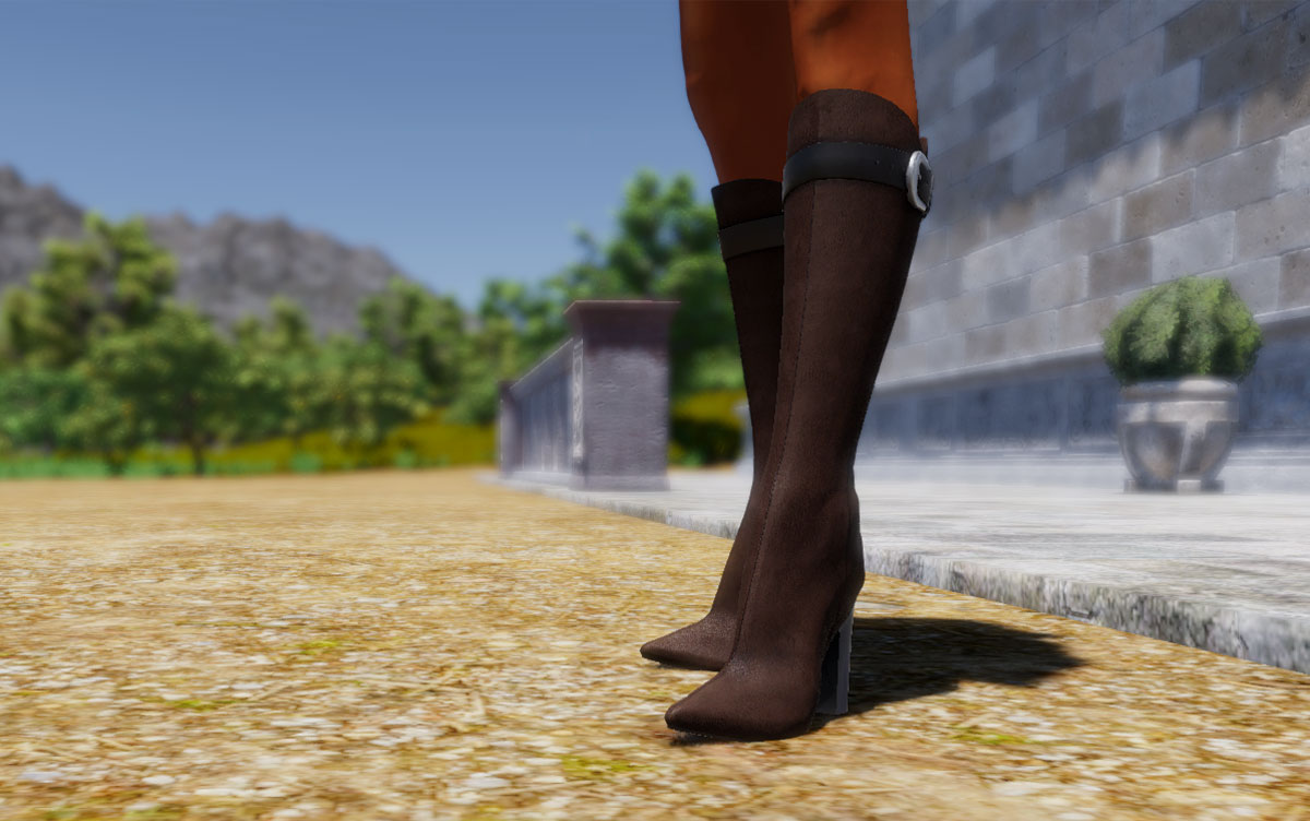 Setting Up Boots and Heels in SineSpace  Boots and shoes with heels require a little more work than regular clothing to set up properly in space. Fortunately, it's easy to do and with this tutorial you should be able to get great results in no time.