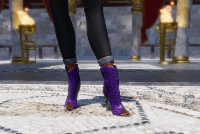 Charlotte Boots in purple ostrich leather