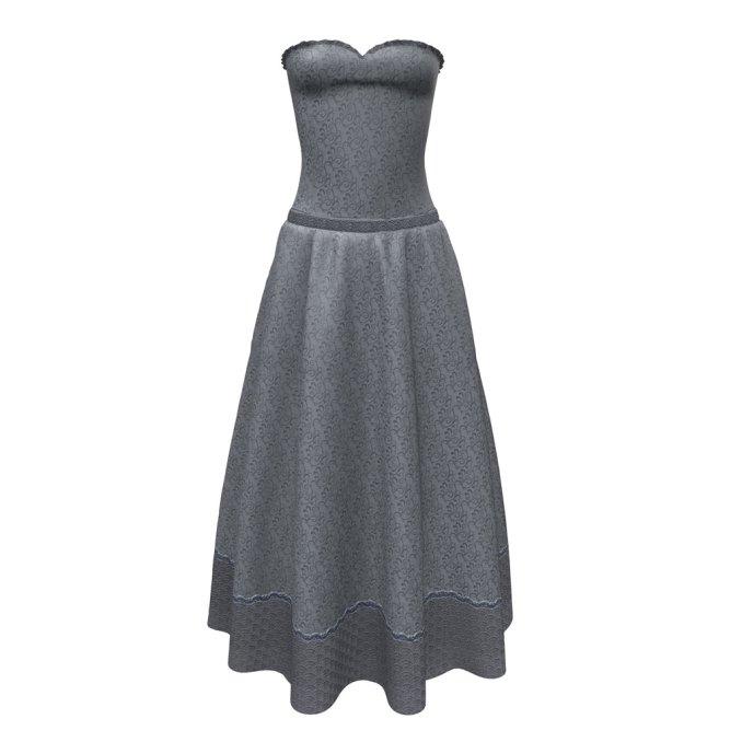 Allegro Gown in Silver Silk