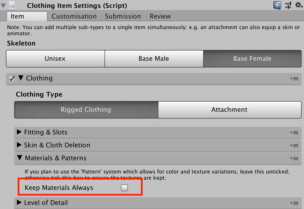 Keep Materials Always checkbox