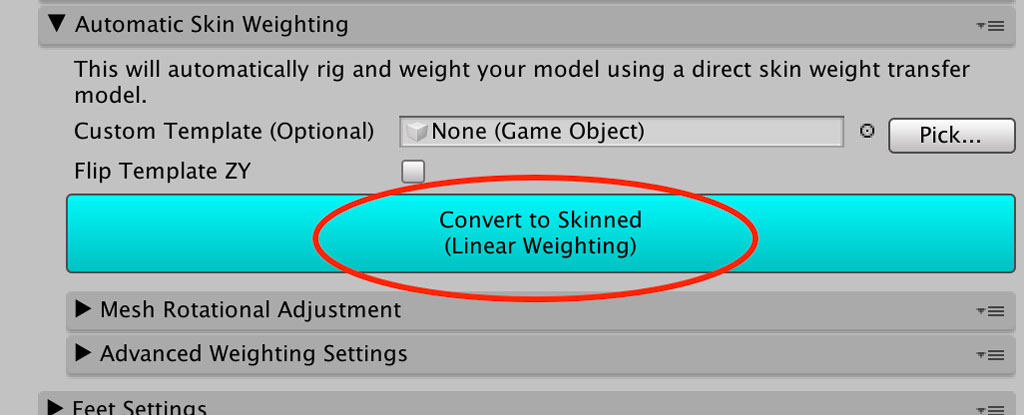 Clothing Item Settings - Convert To Skinned