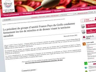 Le président du groupe d'amitié France-Pays du Golfe condamne fermement les tirs de missiles et de drones visant le territoire saoudien