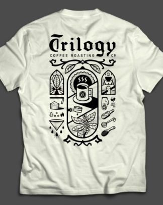 Trilogy Coffee Just Okay T Shirt Back