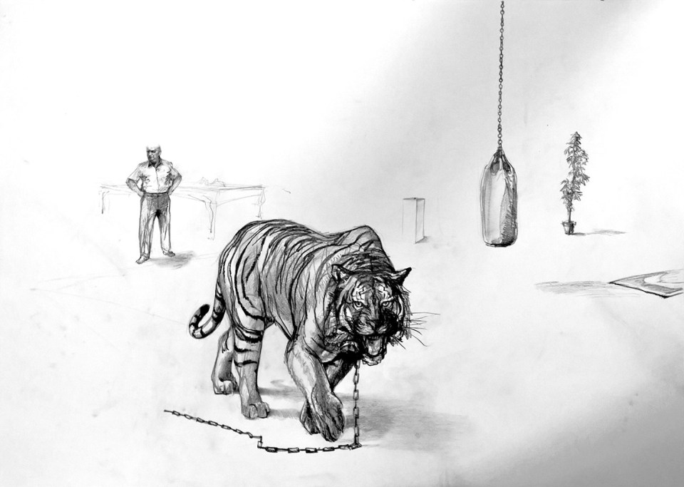Mike Tyson, Purgatorio , disegno preparatorio Fighting On the verge un imponente progetto artistico di Marco Papa