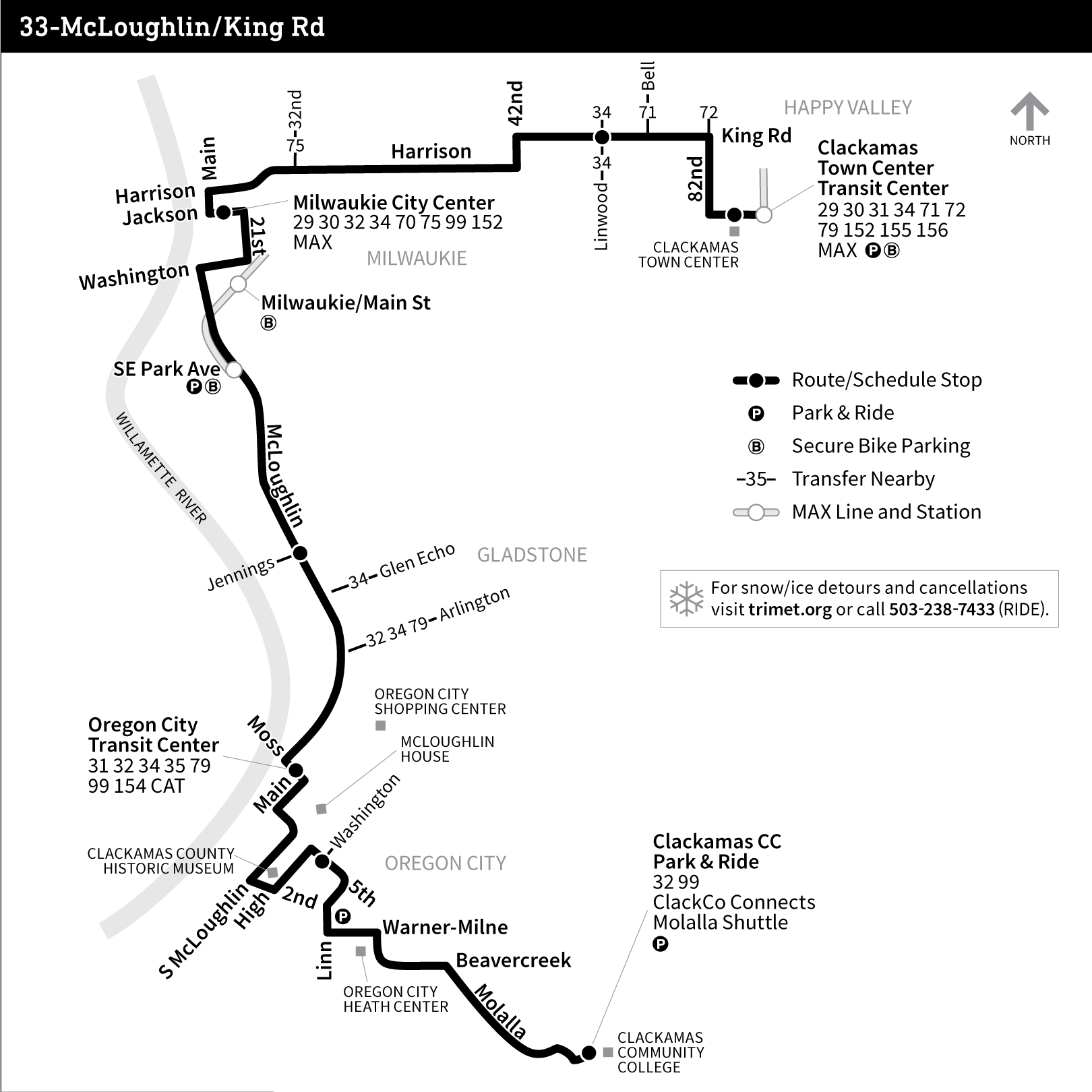 hight resolution of bus line 33 route map