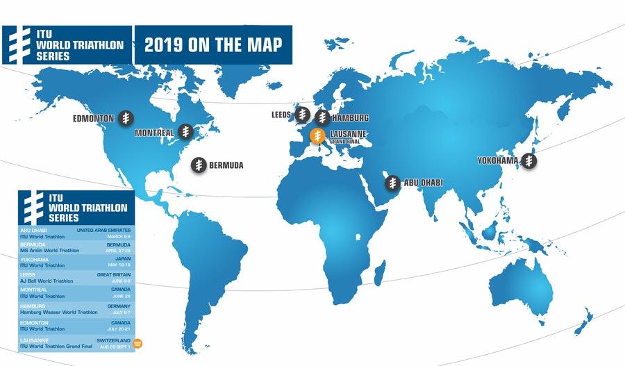 Se presentó el calendario 2019 de las World Triathlon Series.