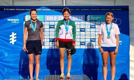 Fernanda Arguijo 2do y Cesar Cárdenas 3ro en la clasificación general del Acuatlón en Gold Coast, Australia.