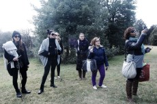 This is a shot of all of us outside while we watched Lauren work her magic with the models. On the left we have Nicolette and Michelle and behind and in front of me (girl with the purple pants) is our fabulous makeup team.
