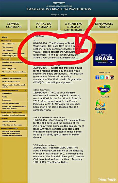 Brazil embassy visa website information