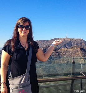 Me appearing to hold up the Hollywood sign Los Angeles California