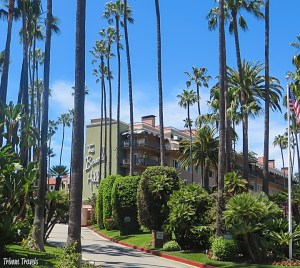 Exterior shot of the Beverly Hills Hotel from Sunset Boulevard Los Angeles California