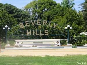 Beverly Hills park sign on Santa Monica Boulevard Los Angeles California