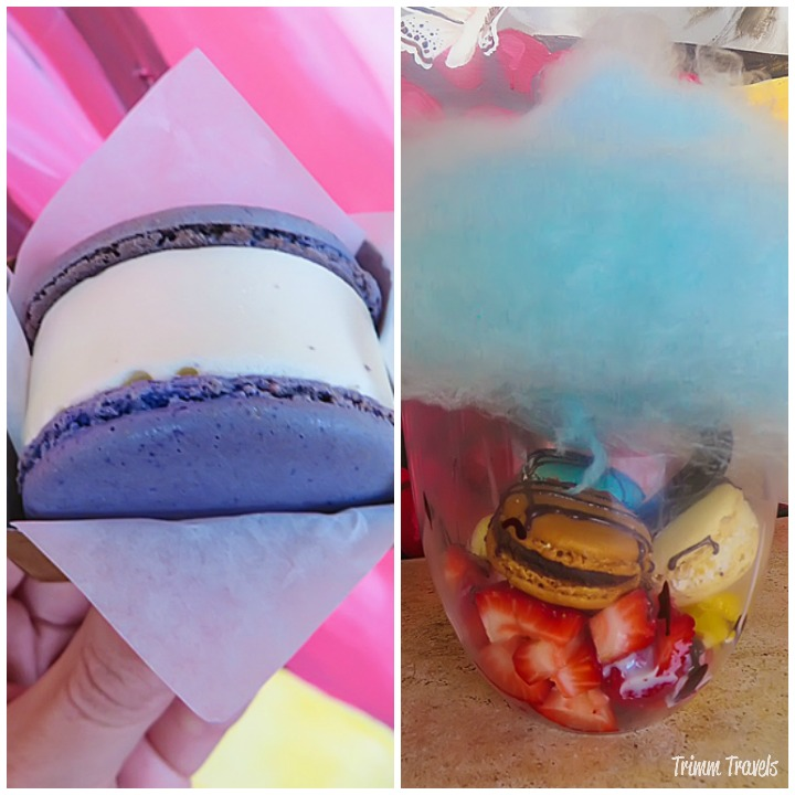 Collage of the Macaroon Ice Cream Sandwich and the Iota Cloud dessert from Iota Brew Cafe Los Angeles California