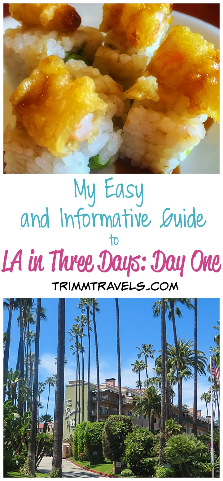 my easy and informative guide to LA in three days day one title photo sushi beverly hills hotel