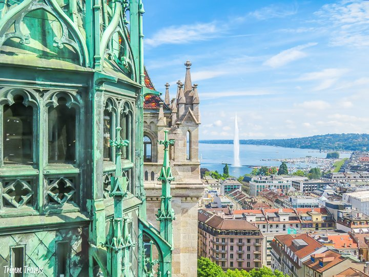 View of Lake Geneva and Jet d'Eau from St Pierre Cathedral