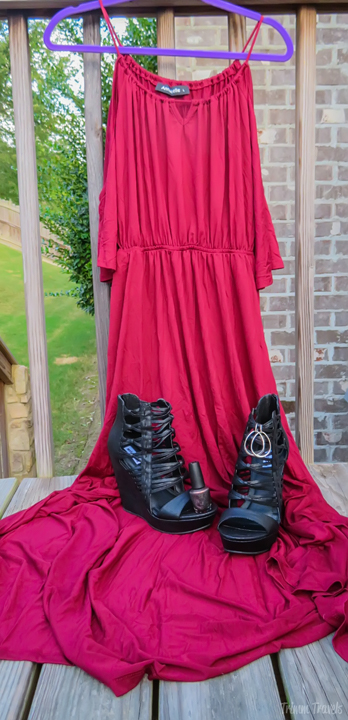 Fall Cold Shoulder Wine Maxi Dress Ensemble