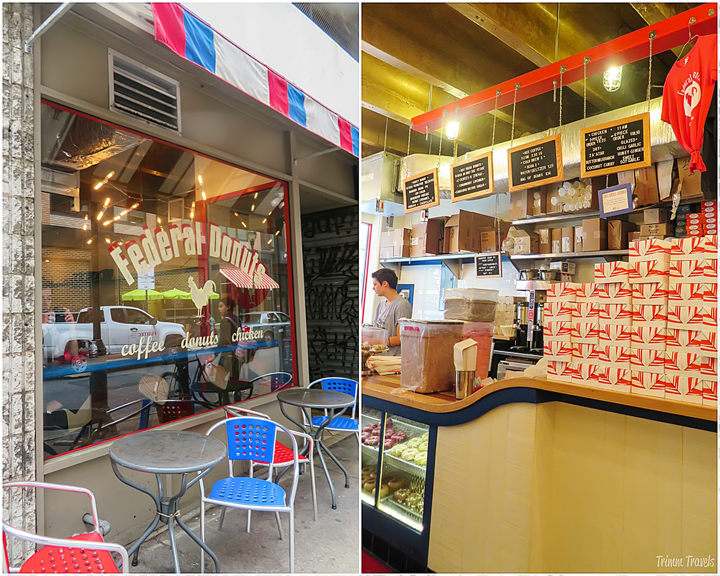 exterior and interior of Federal Donuts side by side- unique restaurants philadelphia