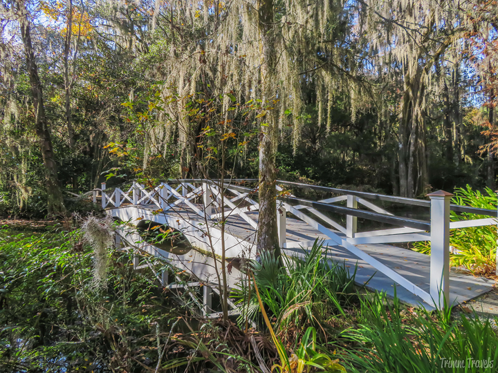sideview of a second white footbridge in the Magnolia Gardens Charleston