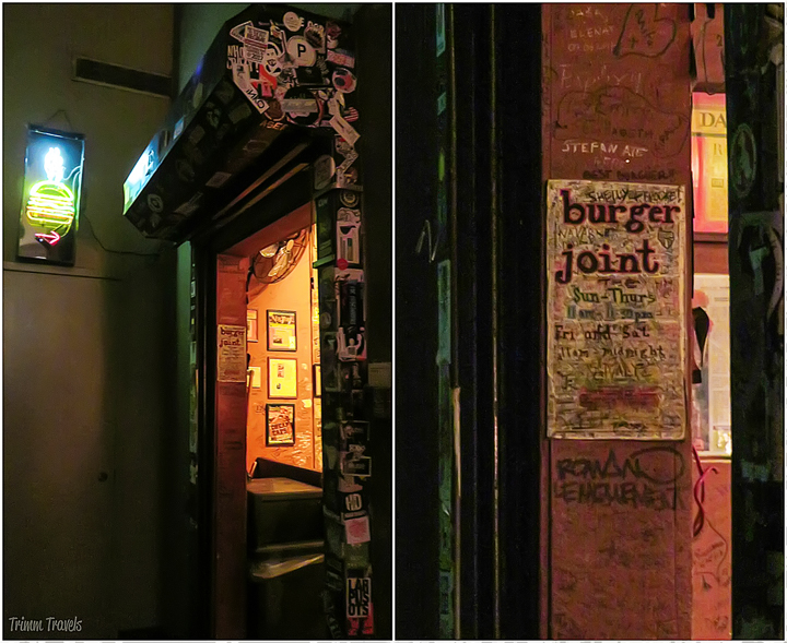 collage of entrance into Burger Joint in New York City