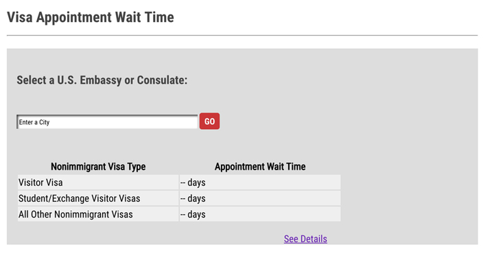 screenshot of visa appointment wait time for US Travel Visa