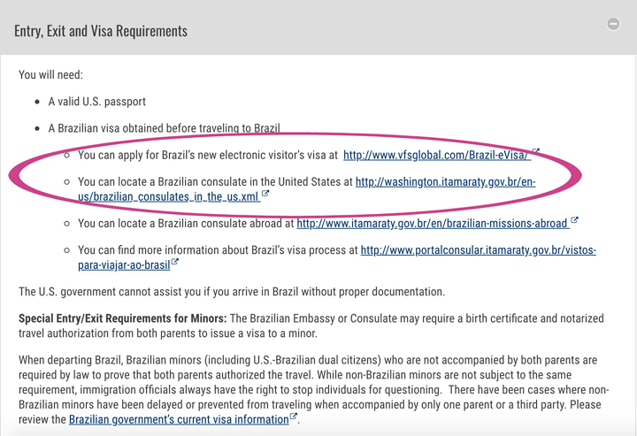 screenshot of entry, exit and visa requirements for brazil-Travel Visa