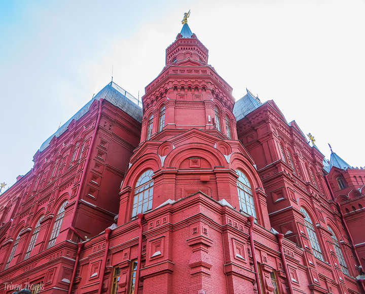 looking up at the corner tower of one of the Red Square buildings Moscow Russia