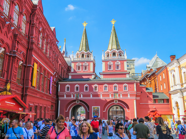 inside the entrance arches at the Red Square Moscow Russia