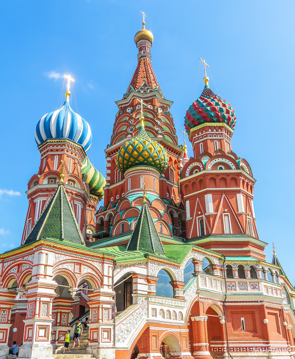 closeup of St Basil's Cathedral Moscow Russia