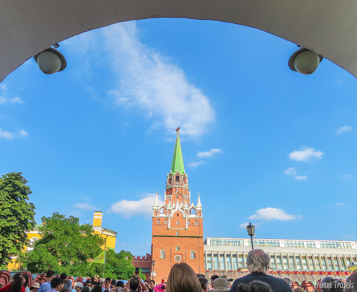 approaching the Trinity Tower to access the Kremlin Moscow Russia