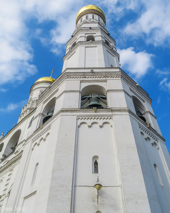 looking up at the Ivan The Great Bell Tower Moscow Russia