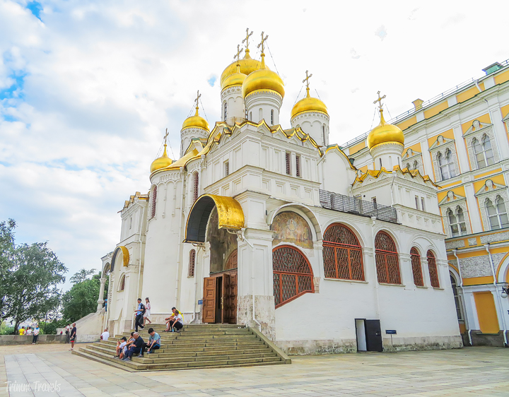 sideview of the Cathedral of the Annunciation Moscow Russia