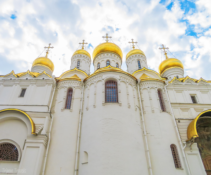 looking up at the domes of the Cathedral of the Annunciation Moscow Russia