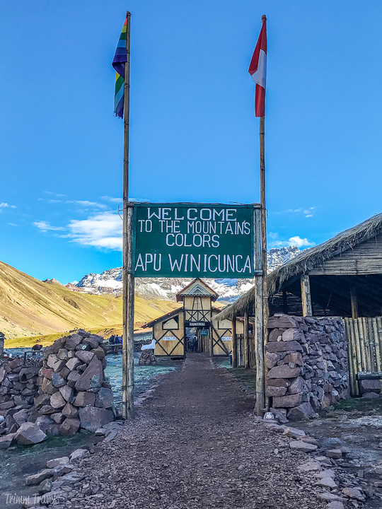 welcome to Rainbow Mountain Peru sign