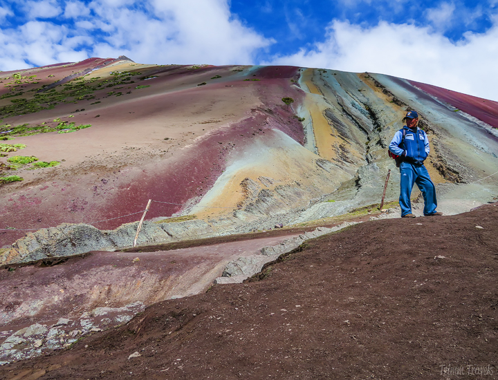 the base of the viewing area of Rainbow Mountain with vibrant colors in view