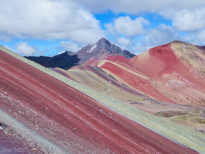 zoomed in view of Rainbow Mountain Peru from base viewing area
