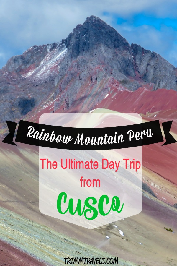 Pin created for Pinterest with title Rainbow Mountain Peru