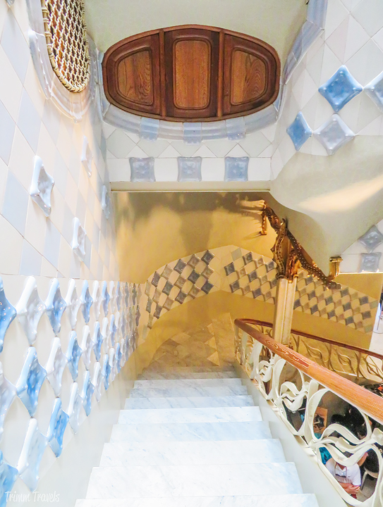 looking down the stairwell at Casa Batllo A Gaudi Barcelona Tour