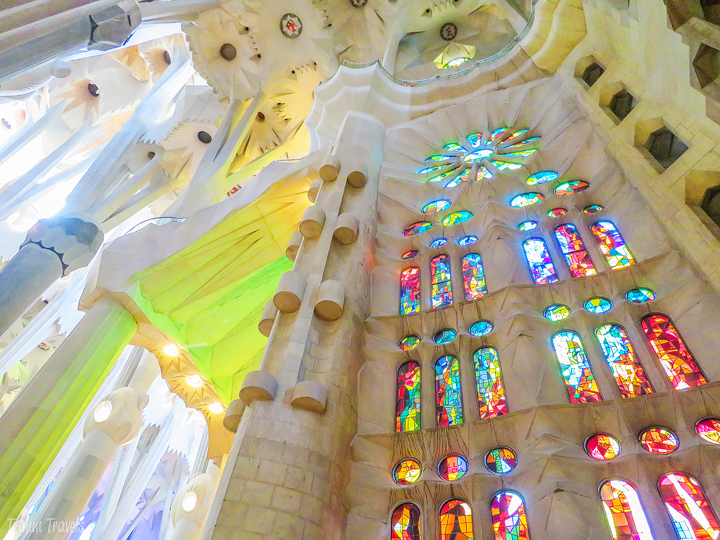 stained glass inside La Sagrada Familiar A Gaudi Barcelona Tour