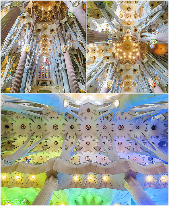 collage of columns and two different ceilings in La Sagrada Familia A Gaudi Barcelona Tour