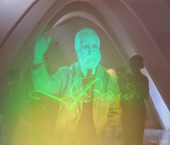 hologram of Gaudi himself in La Pedrera A Gaudi Barcelona Tour