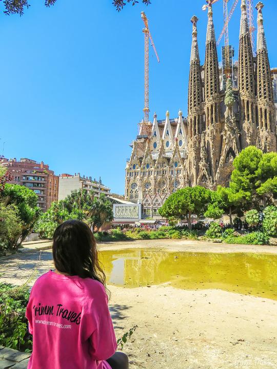 me sitting looking at La Sagrada Familia A Gaudi Barcelona Tour