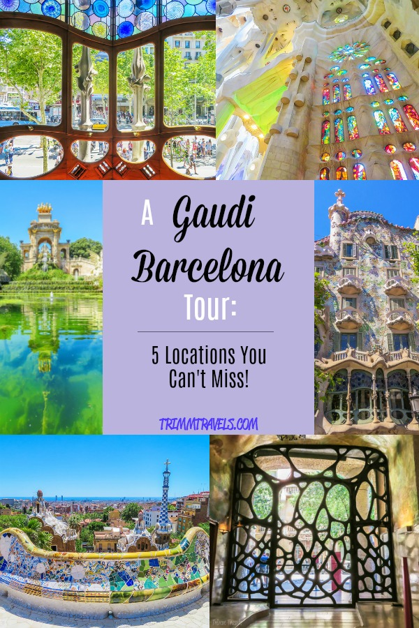 Pinterest pin created with photo collage and title A Gaudi Barcelona Tour