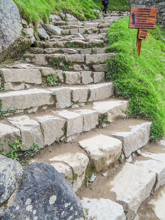 stone steps in machu picchu peru