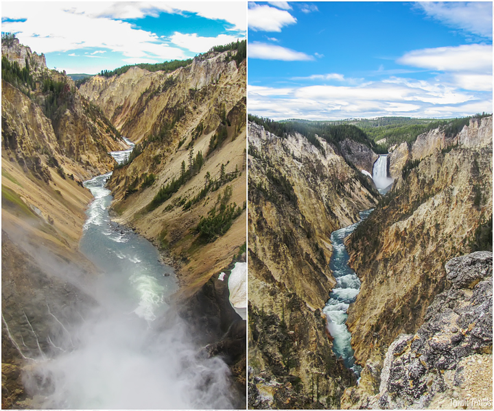 photo collage with two different views of the grand canyon of yellowstone