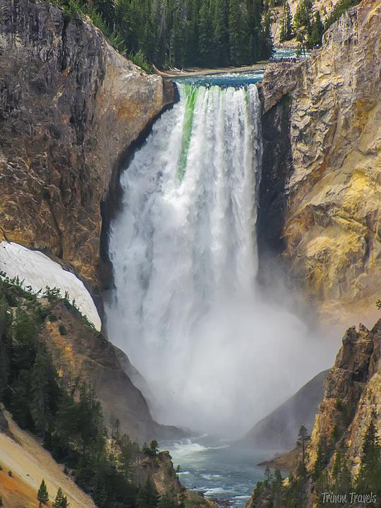 full shot of lower falls in yellowstone